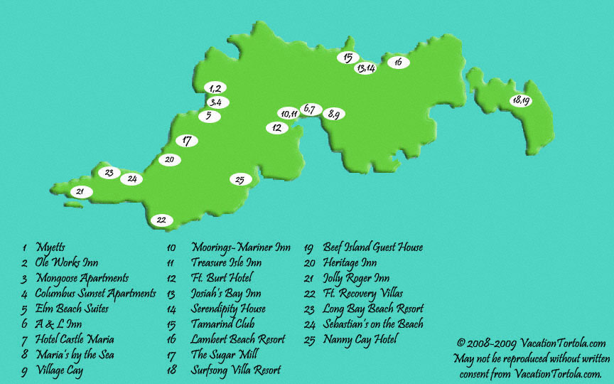 Tortola Hotels Map