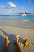 On the beach seaplane