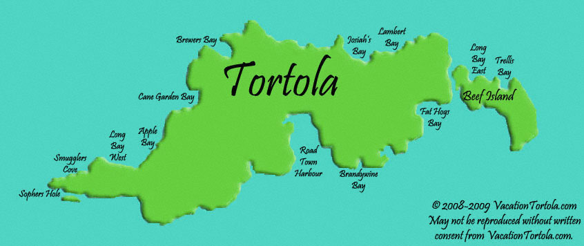 Tortola Beaches Map
