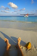 On the beach seaplane